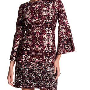 Vince Camuto Printed Flare Sleeve Dress, Size 10